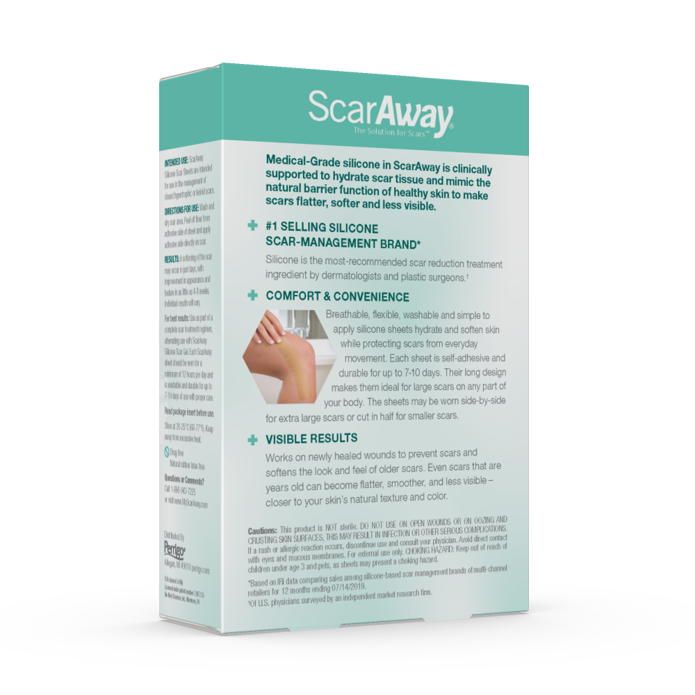 ScarAway® Silicone Scar Sheets are intended for use in the treatment and prevention of abnormal scars, including hypertrophic scars and keloids, often resulting from: c-sections, tummy tucks, injuries, burns, surgeries, and much more.